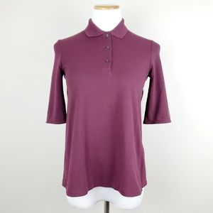 Lacoste Maroon Pleated Back Petit Piqué Polo Top